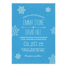 "Simple Snowflakes & Snow Winter Wedding Invitation 5"" X 7"" Invitation Card"