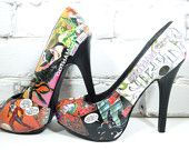 Harley Quinn Shoes-Custom Comic Book High Heels or Pumps-Sexy Valentine's Day Gift-Wedding Shoes-Concert-Prom