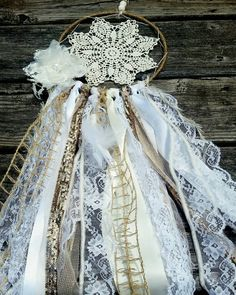 Boho shabby chic rustic white ivory lace gold glitter ivory doily dream catcher 6 inch hoop OOAK