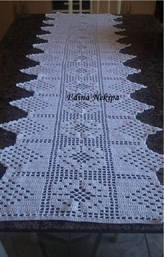 Vintage olive - khaki hand Crocheted cotton table runner table topper tray cloth crochet scarf with flowers Filet Crochet, Hand Crochet, Crochet Lace, Crochet Tablecloth Pattern, Crochet Doilies, Crochet Designs, Crochet Patterns, Crochet Table Runner, Table Toppers