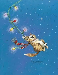 Cat artwork by Gary Patterson Noel Christmas, Christmas Animals, Christmas Cats, Christmas Themes, Xmas, Celebrating Christmas, I Love Cats, Crazy Cats, Silly Cats