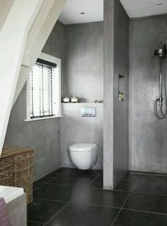 Check Out 41 Concrete Bathroom Design Ideas To Inspire You. Concrete is a super popular material due to its durability, modern look and budget-friendliness. Bathroom Toilets, Laundry In Bathroom, Bathroom Renos, Bathroom Interior, Modern Bathroom, Small Bathroom, Bathroom Ideas, Bathroom Designs, Bathroom Colors