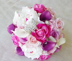 Wedding Purple Mix of Fuchsia, Pink and Lilac Natural Touch Peonies, Callas and Roses Silk Flower Bride Bouquet - Likes the colors
