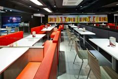 Interior design for the international first fast food restaurant in Mongolia, for KFC. Fast Food Restaurant, Restaurant Bar, Kfc Canada, Restaurant Design Concepts, Decoration Restaurant, Interior Decorating, Interior Design, Food Places, New Shop