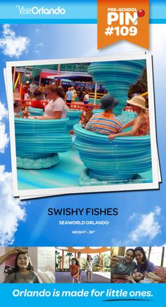 """Swishy Fishes - This mild teacup ride lets your younger adventurers experience the fun of spinning around a giant waterspout without ever leaving the ground. Minimum height: 36""""  #VisitOrlando #Seaworld #Orlando #Preschool #littleones #travel #familytravel"""