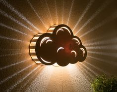 Cloud - Wall Hanging Night Light - Baby & Kid's Room Lamp - Nature Decor - Wooden Lasercut Accent Lighting - Laser Cut Nightlight