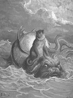 Illustration from Fables of La Fontaine: The Monkey and the Dolphin, by Gustave Doré.