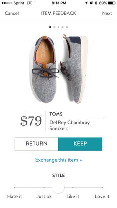 Stitch Fix Oct 2016 Toms Del Ray Chambray Sneakers $79