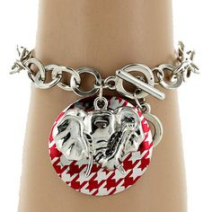 $2.50 Red Houndstooth Disk and Elephant Charm Chain Toggle Bracelet