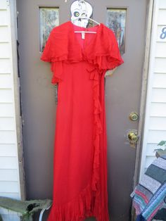 Vintage red sheer ruffled chiffon maxi Party Prom &