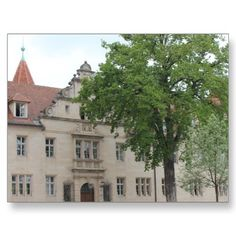 Beautiful photo from Amberg in Bavaria, Germany. Tree in front of a patrician house