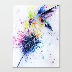 Hummingbird and Dandelion Stationery Cards by The Hummingbird Art Gallery - Set of 3 Folded Cards x Watercolor Hummingbird, Hummingbird Tattoo, Aquarell Tattoo, Dandelion Art, Canvas Prints, Art Prints, Art Plastique, Watercolour Painting, Art Gallery
