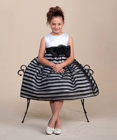 This White & Black Stripe Fit & Flare Dress - Infant, Toddler & Girls is perfect! #zulilyfinds