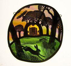Raycomb House x Stained Glass Portfolio - Tamsin Abbott Stained Glass Paint, Stained Glass Designs, Stained Glass Panels, Glass Ceramic, Mosaic Glass, Glass Art, Rabbit Art, Bunny Art, 1920s Art Deco