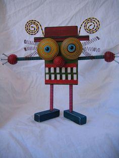 FigJamStudio: Big Hug 6 - Original Found Object Art Kerry j. Heath, artist.  For sale. No inspiration. Nails, springs, wood, buttons.