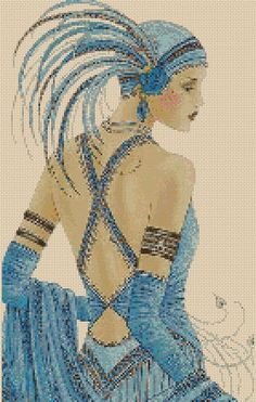Cross stitch chart Art Deco Lady http://www.ebay.co.uk/itm/Cross-stitch-chart-Art-Deco-Lady-No-23-/111005502970?pt=UK_Crafts_CrossStitch_RLhash=item19d8718dfa