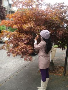 Pur-fect purple fall outfit : cable knit lavendar hat, lavendar 3/4 sleeve pea coat, purple tights, and white boots # ootd