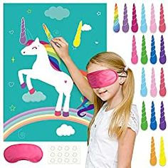 Birthday Games For Kids, Birthday Party Games, Unicorn Birthday Parties, Birthday Party Decorations, Wall Decorations, Party Favors, Pin The Horn On The Unicorn, Unicorn Poster, Unicorn Games