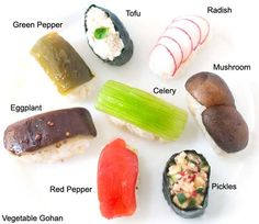"""Vegetarian◎Vegan◎Raw food△Recipe Handmade Vegetarian """"Sushi"""" The steps involved in making this kind of sushi take some time, but they a. Sushi Recipes, Raw Food Recipes, Veggie Recipes, Vegetarian Recipes, Veggie Sushi, Yummy Veggie, Sushi Take, Kinds Of Sushi, Stuffed Mushrooms"""