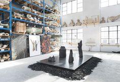 The burning installation by Roberto Sironi at Fonderia Battaglia, Milan