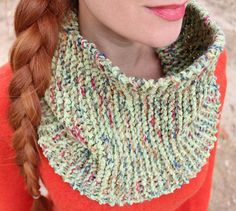 """The Funfetti Layered Cowl will have you bursting with color. Knit by holding multiple strands of yarn at once, this is the easy scarf knitting pattern it won't take you long at all to get off of your needles. Soon, you'll be binding off and seaming together your new favorite knitted accessory. Size 10 1/2 needles. CO 30 stitches.  Garter stitches 28"""". BO, sew seam"""