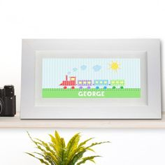 Kids Gift Idea -  Personalised Patchwork Train Name Frame  - Lovely Present Idea for Children or Toddlers. Birthday or Christening gift.