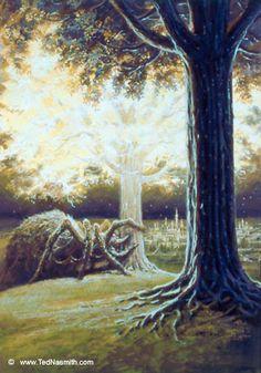Ungoliant poisons the two trees of Valinor.  Valinor tuvo su máximo esplendor en la Edad de los Árboles, antes de que Melkor el enemigo del Mundo con la ayuda de Ungoliant destruyeran los Árboles.