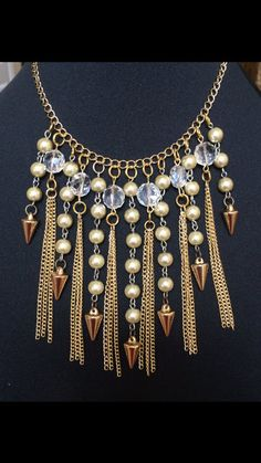 Crystal Fringe Statement Necklace от FifaDesigns на Etsy