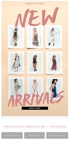 "Urban Outfitters // email design - product on ""polaroid style sheets pinned to a board."