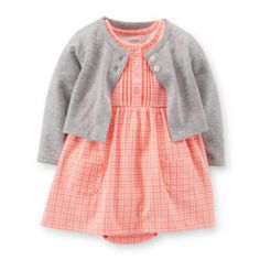 <p>Layer on the style and convenience with this super-soft bodysuit dress and sweater set, featuring nickel-free snaps for easy changes.</p><ul><li>includes bodysuit dress and sweater</li><li>bodysuit dress: cap sleeves, nickel-free snaps on reinforced panel,  (JCP)
