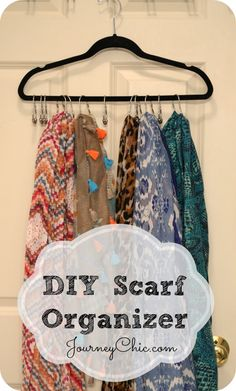 DIY Scarf Organizer with hanger + curtain rings. PLUS: See 9 gorgeous fall scarves that should be in your closet NOW!