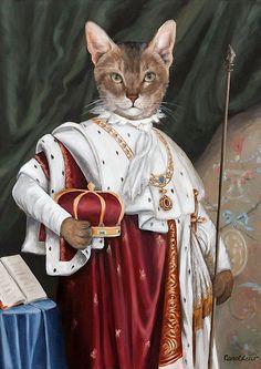 """""""King Alex the Cat"""" par Carol Lew. Anthropomorphic cat."""