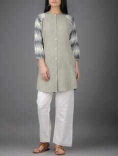 Grey-Ivory Ikat Button-down Khadi Cotton Shirt Tunic