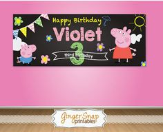 Peppa Pig Birthday Banner Chalkboard by GingerSnapPrintables Pig Birthday, Baby Girl Birthday, Third Birthday, 2nd Birthday Parties, Happy Birthday, Birthday Ideas, Peppa Pig, Pig Party, Chalkboard