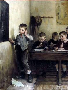 """""""Écolier embarrasé"""", 1908.  Henri Jules Jean Geoffroy (1853-1924), French painter."""