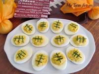 Football Deviled Eggs on MyRecipeMagic.com So Perfect For Your Super Bowel Party