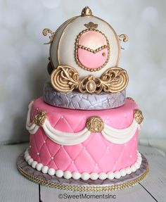Cinderella Princess Carriage Cake in Pink and Gold