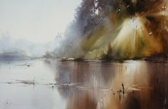 Ilya Ibryaev  - Reflection in the water - watercolor -53х35 cm