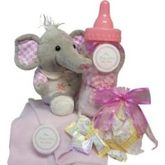 Art of Appreciation Gift Baskets Sweet Baby Girl Savings Bank Bottle Gift Set with Plush Elephant --- http://viewn.us/r5
