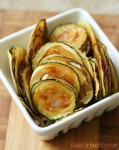Zuchinni chips-thinly slice zucchini drizzle with olive oil and salt then bake