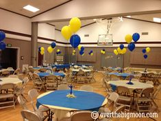 Blue and Gold Decor and fun idea to have a Father and son Cake competition.