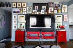 layered depth of display -- A Designer's Graphic Gray & Red Modern-Minimal Brooklyn Abode