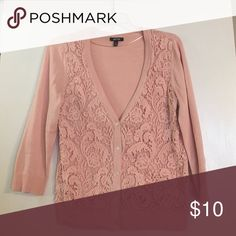 Apt.9 Blush Lace Cardigan So pretty and perfect for SPR🌷NG!! EUC. Size M Apt. 9 Sweaters Cardigans