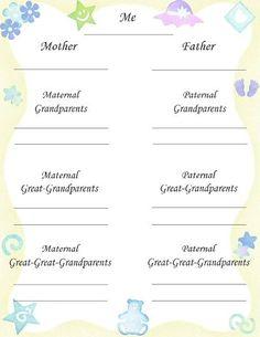 geneology tree for baby scrapbook | Baby Scrapbook Graphics to Print Yourself | ScrapbookScrapbook.com