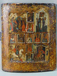 Лот 32420. Икона «Собор святых», дерево, левкас, темпера, XVI— XVII век, 25×21см