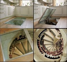 Wine cave in the kitchen with stairs - so cool!