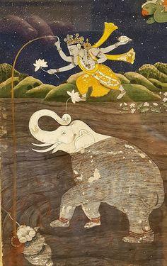 Gajendra Moksha Krishna Killing Shankhasura Kangra ca 1790 Pahari Indian Museum Calcutta Pichwai Paintings, Mughal Paintings, Indian Paintings, Traditional Paintings, Traditional Art, Lord Vishnu Wallpapers, Dragons, India Art, Outline Drawings