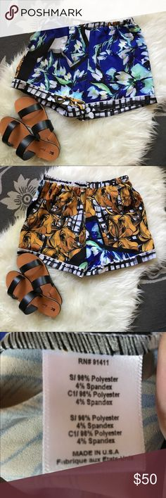Clover Canyon Silky Abstract Print Shorts Small Easy-going pull on shorts in l bright and beautiful abstract print. Elasticized waist to fit a variety of shapes. Perfect summer go-to at a fraction of retail price - $198 retail. Brand new, never worn. Clover Canyon Shorts