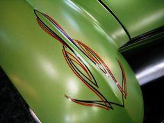 Pin stripes on green car Car Pinstriping, Pinstripe Art, Sign Painting, Garage Art, Lowbrow Art, Letter Art, Rat Rods, Painted Signs, Custom Paint