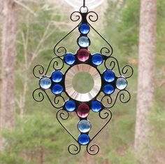 Stained Glass Suncatcher  Round Bevel with Blue & Purple